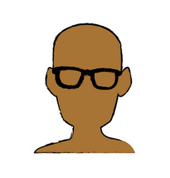 Silhouette man head wear glasses vector
