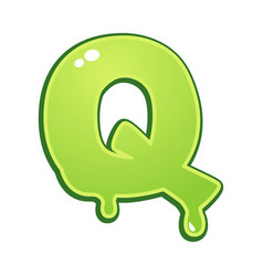 Slimy font type letter q vector