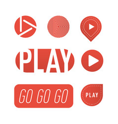 Ui interface red button play media internet vector