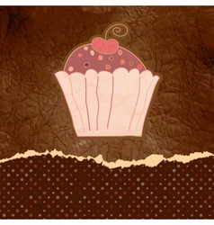 Vintage cupcake birthday card vector