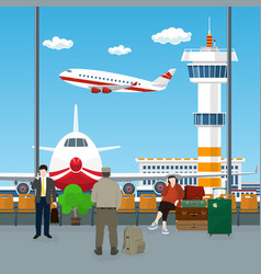 waiting room at the airport with passengers vector image vector image