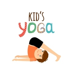 Yoga kids logo with boy vector