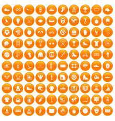 100 sport team icons set orange vector