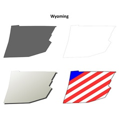 Wyoming map icon set vector