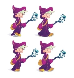 Happy cartoon mage character in move vector image