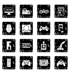 Video game set icons grunge style vector image