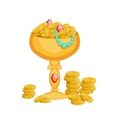 Golden goblet with gold coins and jewelryhidden vector