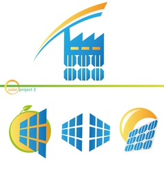 Solar factory icons vector