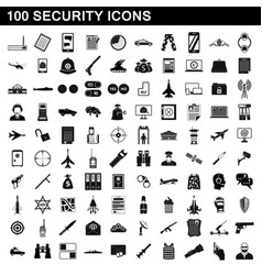 100 security icons set simple style vector