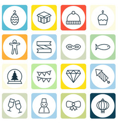 Set of 16 holiday icons includes knitted cap vector