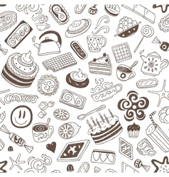 coffee and sweets - seamless background vector image