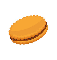 Sandwich biscuit filled with cocoa cream isolated vector