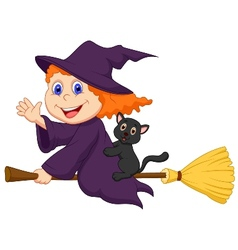 Young witch cartoon flying on on her broom vector
