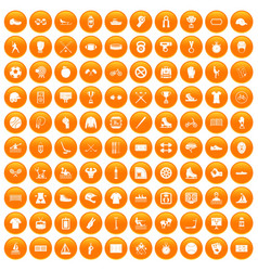 100 sport team icons set orange vector image
