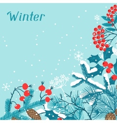 Merry christmas background with stylized winter vector