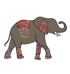 elephant silhouette with abstract pattern vector image
