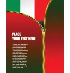 zipper open italian flag vector image