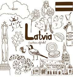 Collection of latvia icons vector