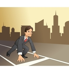 Businessman starting the race to success 4 vector