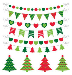 Christmas trees and decoration set vector