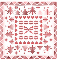 Merry xmas tile with snowflakes stars bow vector