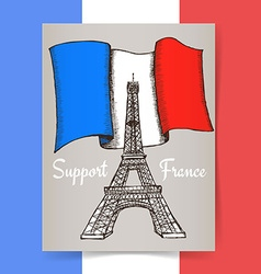 Sketch support france poster vector