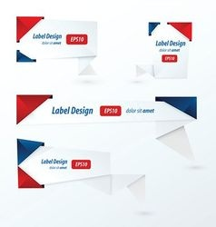 Origami label design red blue color vector