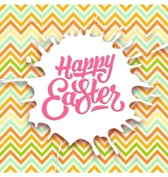 Happy easter greeting card with hand lettering vector