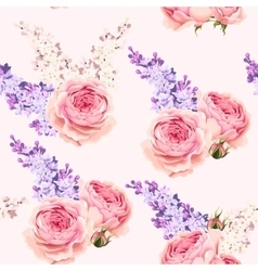 English roses and lilac seamless vector