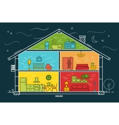 Flat house silhouette night vector