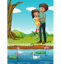 A young girl and her father at the riverbank vector image vector image