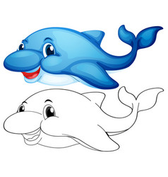 Animal outline for cute dolphin vector