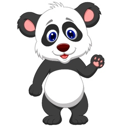 Baby panda cartoon waving hand vector image vector image