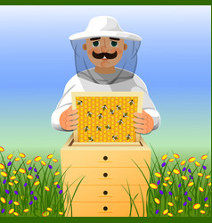 beekeeper on apiary a man in a white beekeeper vector image vector image