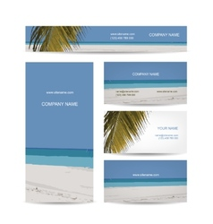 Business cards design tropical island vector image
