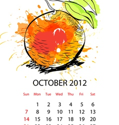 calendar with fruit for 2012 october vector image vector image