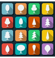 Cartoon trees silhouettes vector