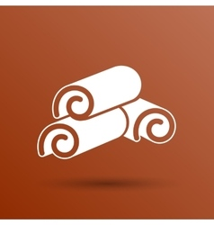 Cinnamon sticks logo closeup heap tree art vector