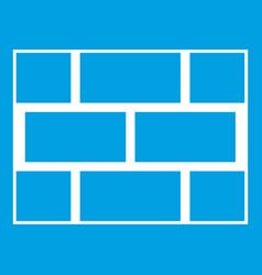 Concrete block wall icon white vector