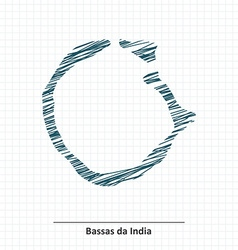 Doodle sketch of Bassas da India map vector image vector image