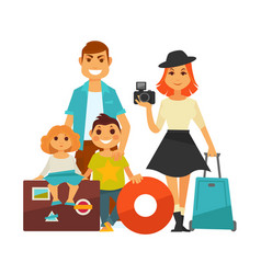 Family people travel flat icons woman man vector