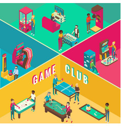 Game club cutaway interior flat 3d vector