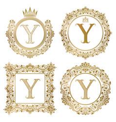 Golden letter y vintage monograms set heraldic vector