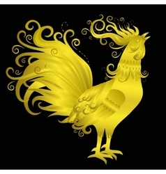 Golden Rooster on Black Background vector image