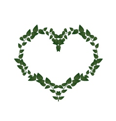 Green Vine Leaves in A Heart Shape vector image vector image