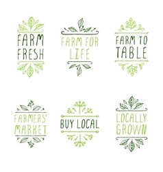 Hand-sketched typographic elements farm product vector