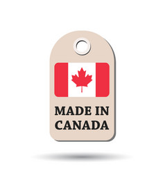 Hang tag made in canada with flag on white vector