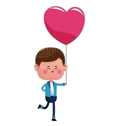 happy boy with pink heart balloon vector image vector image