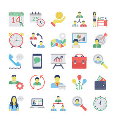 human resources flat colored icons set 2 vector image vector image