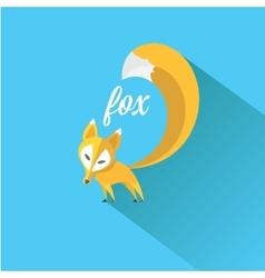 Little fox fox flat icon vector